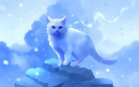 White Hera - pretty, lovely, kitty, digital art, cat, cute, paintings, kitten, drawings, Hera, animals