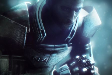 Shepard - male, normandy, shepard, commander, space, video game, warrior, mass effect, hero, hot