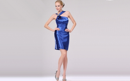 satin 7 - dress, satin, model, legs, blonde, heels, short, sexy, silver, women, hot, glamour, stilletos, blue