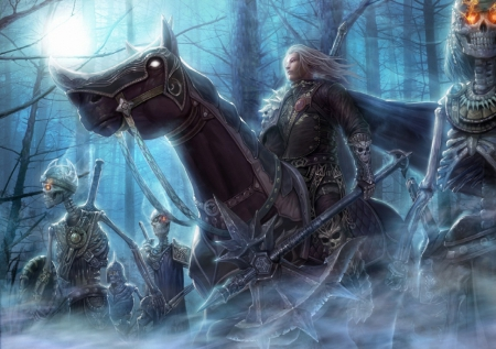 dark prince and undead army fantasy abstract background