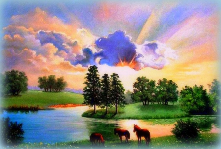 ✫Abundance of Rivers✫ - grass, softness beauty, attractions in dreams, beautiful, clouds, rainbows, paintings, landscapes, flowers, scenery, drawings, animals, rivers, abundance, colors, love four seasons, creative pre-made, sky, trees, horses, digitals art, sunshine, nature