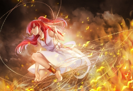 Morgiana - angry, light, magfic, anime, glow, sinister, cute, warrior, sexy, dress, female, long hair, redhead, hot, mad, chain, red hair, beauty, beautiful, Magi The Labyrinth of Magic, sparks, magical, girl, weapon, morgiana, anime girl, gown
