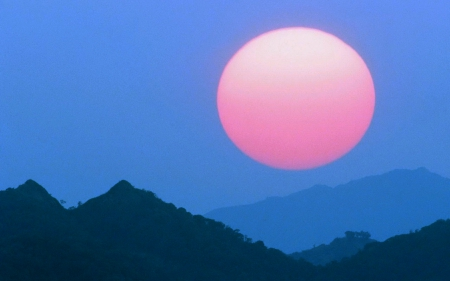 SUPER MOON - pink, photography, sky, foggy, moon, mountains