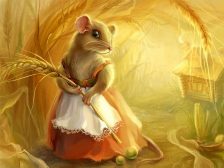 Missy Mouse - cute, look, house, dress, frock, mouse, wheat, tail