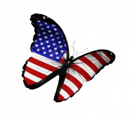 American Flag on Butterfly Flying Isolated - Red, Flying, White, American, Flag, Blue, Butterfly