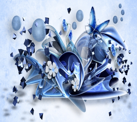 Blue Nice - fantasy arts, fantasy, nice, butterfly, balls, blue dreams, flowers, blue