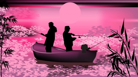 Sunset Fishing - sun, fishermen, sunset, sky, lake, bamboo, tree, leaves, boat, bright, pods, pink, fishing