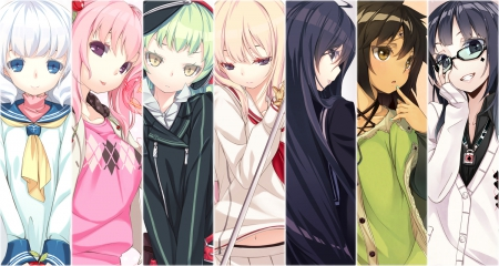 seven are better than one - emotions, silent, shy, good, anime, sample, anime girl, girls, long hair, friends, mysterious, sexy, short hair, cute, cool, girl, coiled, funny