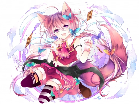~Lovely Foxgirl~ - short hair, animal ears, anime, tail, cute outfit, foxgirl, bows