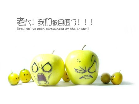 Surrounded BOSS... - apple, cut, pices, boss, surrounded, angry