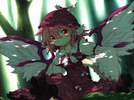 Mystia Lorelei - akagaminanoka, Short hair, Woods, Touhou, Anime, fuuen, Mystia Lorelei, Cute, Pink Haur, Girl, Original, Wings