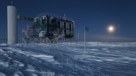 antarctic observatory in a perpetual night - moon, observatory, antarctica, flag, night, cold