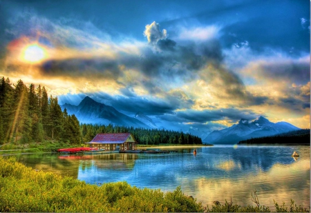 Maligne Lake, Canada - house, boats, sunrays, sun, mountains, reflection, trees, clouds