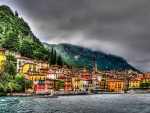 italian town on a lakeshore  hdr