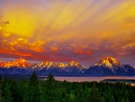 SUN SETTING at GRAND TETON