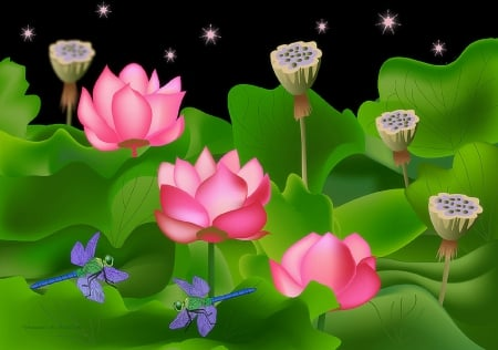 Pink Lotus Pond - pretty, lotus pads, lotus, softness beauty, beautiful, digital art, seeds, green, bright, flowers, pink, lovely, colors, love four seasons, creative pre-made, water lilies, dragonflies, nature, vector