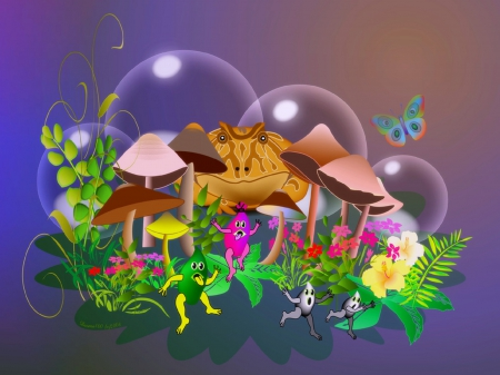Toad Escape Extreme - pretty, beautiful, adorable, digital art, toad, leaves, butterfly, bright, flowers, butterfly designs, vector arts, lovely, colors, love four seasons, creative pre-made, butterflies, cool, nature