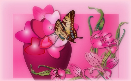 ★Pink Hearts in Vase★ - pretty, colorful, vase, beautiful, digital art, butterfly, bright, flowers, pink, butterfly designs, animals, lovely, meeting, colors, creative pre-made, hearts, plants, nature, vector