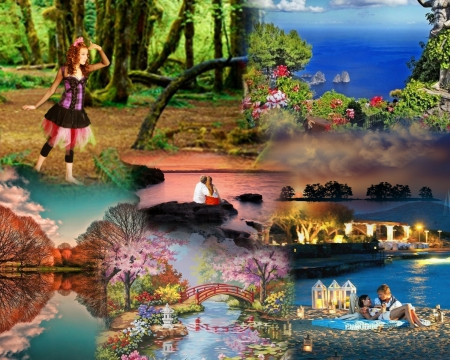 Romantic Scenic Places Collages Abstract Background Wallpapers
