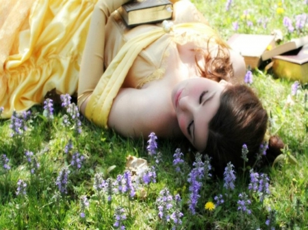 **Princess Belle** - pretty, dress, lovely, belle, yellow, soft, brunettes, nice, femininity, dreamer, flowers, beauty, relax moments, princess, field