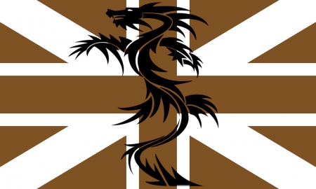 Gold Union Jack and Black Dragon - union flag, britain, british, black dragon, flag, gold union jack, british flag, union jack, great britain
