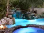 Blue Lit Waterfall Pool