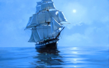 Sailing in blue - sailing, ship, sea, blue