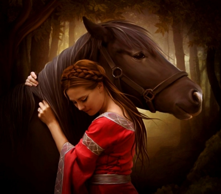When I'm sad - image, girl, wallpaper, expression, new, color, horse
