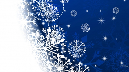 Blue Snowfade Flakes - Christmas, Feliz Navidad, scatter, abstract, winter, cold, fade, snowflakes, ice, blue