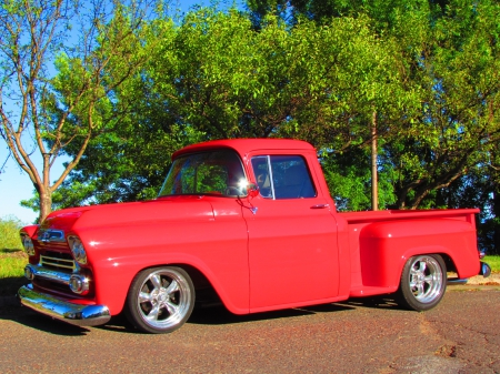 1959 Chevrolet custom pickup truck - red, chevy, custom, 1959, gm, 59, cool, chevrolet, pick up, truck, classic, vintage