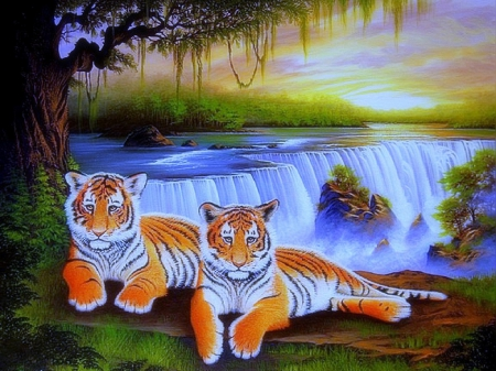 Tigers at Waterfalls - family, grass, paintings animals, tigers, attractions in dreams, beautiful, digital art, paintings, tiger family, landscapes, forests, scenery, drawings, animals, falls, lovely, colors, love four seasons, creative pre-made, trees, waterfalls, plants, wildlife, nature