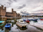 boat harbor in front of caernarfon castle in wales