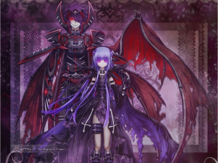 Evil Pair - evil, horror, wing, creepy, emotional, anime, love, gloomy, anime girl, long hair, couple, female, wings, gloom, armor, girl, creep, lover, sinister, serious