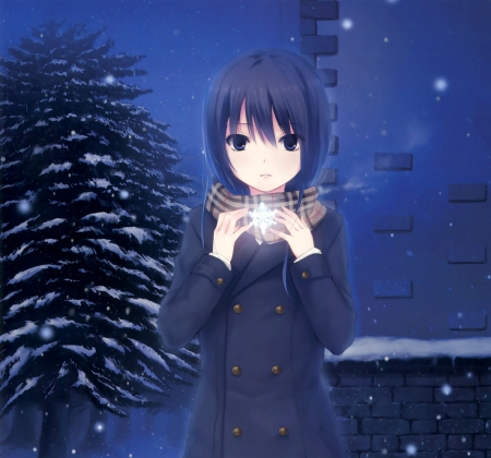 SnowFlakes - lovely, cold, sweet, snow, hot, adorable, pretty, female, cute, snowflakes, sparks, sexy, glow, winter, scarf, anime girl, kawaii, nice, flakes, short hair, anime, light, girl, freeze, tree