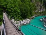hanging bridge over green river