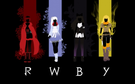 RWBY logo - red, yang, ruby, black, yellow, rwby, weiss, logo, anime, girls, blake, white, friends
