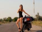 Brunette Biker Babe