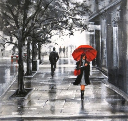 Red umbrella art black red oil painting