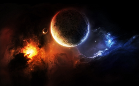 Deep space - moons, fire in the sky, universe, space