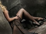 Sexy Blonde in Heels Wearing Fishnets
