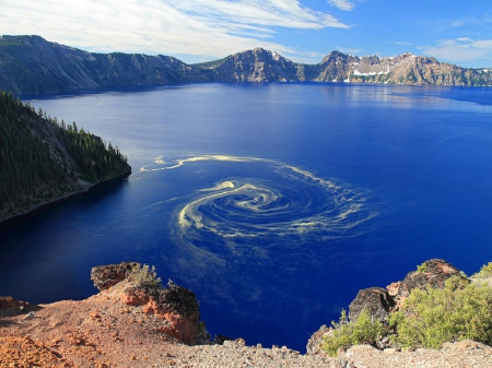 Giant Swirl of Pollen at Crater Lake National Park, Oregon - rock, lake, sky, crater, water, nature, pollen, clouds, oregon, national, park, mountain, swirl