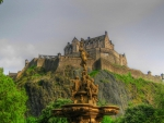 gorgeous fountain under edinburgh castle hdr