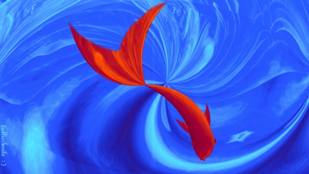Red Fish.... - blue whale, water, whale, fish, swirls, blue, swirly