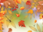 Autumn Leaves and Dragonflies