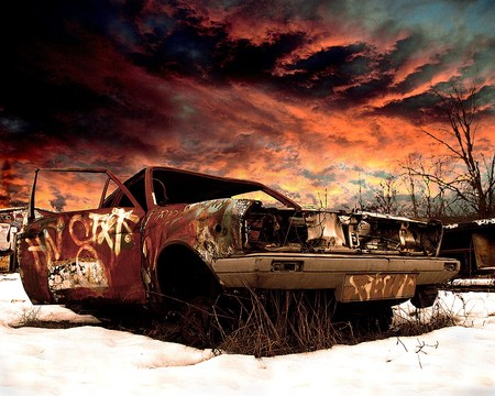 Decayed Car - snow, car, graffiti, abstract, sky
