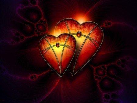 HEART WARMING LOVE  - lighted, two, love, glows, hearts