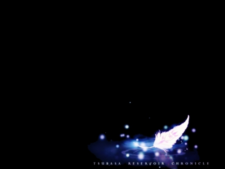 Sakura's Feather - pretty, item, glow, object, xxxHolic, objects, beautiful, magic, sweet, nice, anime, darkness, feather, beauty, tsubasa, reflection, light, Tsubasa Chronicles, lovely, reservoir, items, abstract, dark, magical