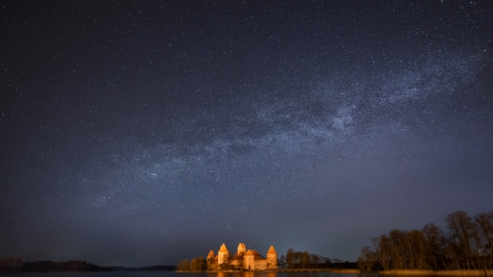 amazing starry sky over trakai castle in lithuania - stars, castle, sky, night, light