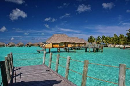 Aqua Blue Lagoon Bora Bora - shallow, ocean, turquoise, polynesia, french, island, paradise, islands, bora bora, bungalow, sea, teal, pacific, blue, luxury, lagoon, water, sand, exotic, warm, villa, tropical, south, aqua, tahiti, beach