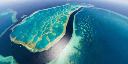 THE GREAT BARRIER REEF, AUSTRALIA - landscape, water, beach, oceanscape, sea, coral reef, aerial view
